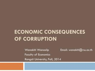 ECONOMIC CONSEQUENCES OF CORRUPTION