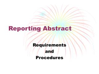 Reporting Abstract