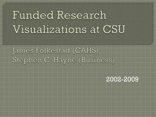 Funded Research Visualizations at CSU James  Folkestad  (CAHS) Stephen C.  Hayne (Business)