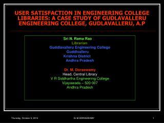 Sri N. Rama Rao Librarian Guddlavalleru Engineering College Guddlvalleru