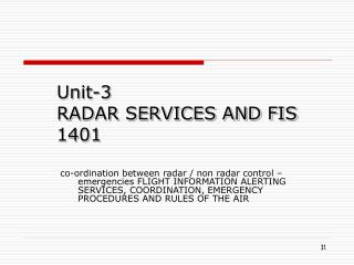 Unit-3 RADAR SERVICES AND FIS 1401