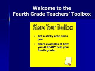Welcome to the Fourth Grade Teachers' Toolbox