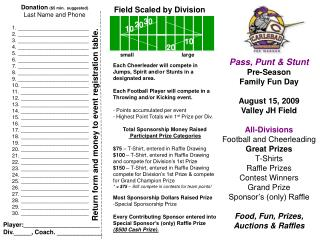 Pass, Punt & Stunt Pre-Season Family Fun Day August 15, 2009 Valley JH Field All-Divisions
