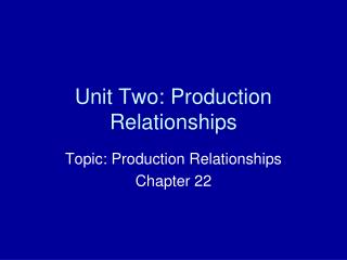 Unit Two: Production Relationships
