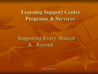 Learning Support Center Programs & Services