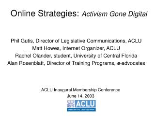 Online Strategies:  Activism Gone Digital