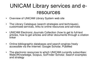 UNICAM Library services and e-resources