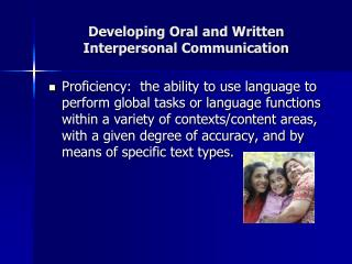 Developing Oral and Written  Interpersonal Communication
