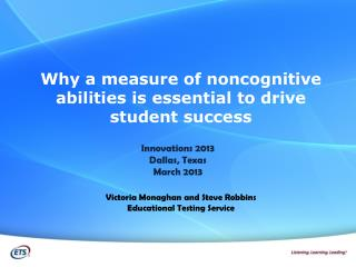 Why a measure of noncognitive  abilities is essential to drive student success