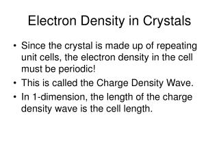 Electron Density in Crystals