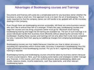 Advantages of Bookkeeping courses and Trainings