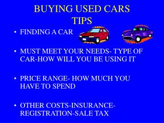 BUYING USED CARS TIPS