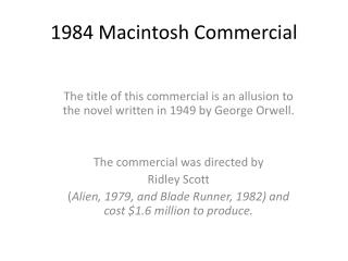 1984 Macintosh Commercial