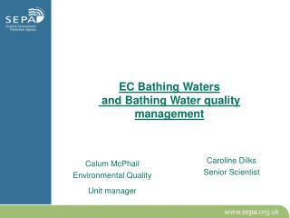 EC Bathing Waters   and Bathing Water quality management