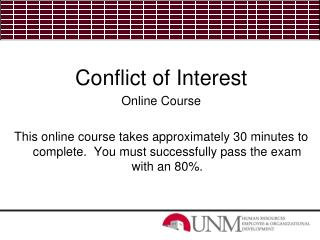 Conflict of Interest Online Course