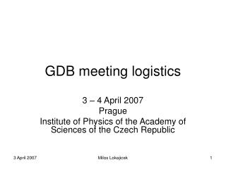 GDB meeting logistics