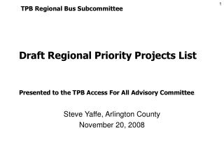 Draft Regional Priority Projects List