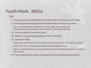 Youth Work:  MDGs