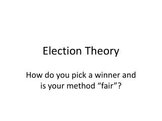 Election Theory
