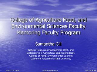 College of Agriculture Food, and Environmental Sciences Faculty Mentoring Faculty Program