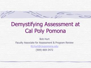 Demystifying Assessment at Cal Poly Pomona