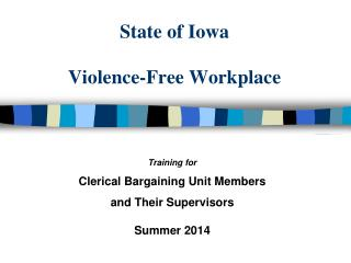 State of Iowa Violence-Free Workplace