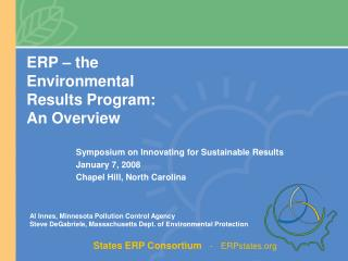 ERP – the  Environmental Results Program: An Overview