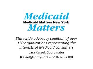 Medicaid Matters New York Guiding Principles for Meaningful Medicaid Redesign