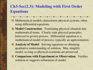 Ch3-Sec(2.3): Modeling with First Order Equations