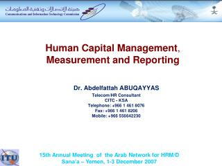 Human Capital Management ,  Measurement and Reporting