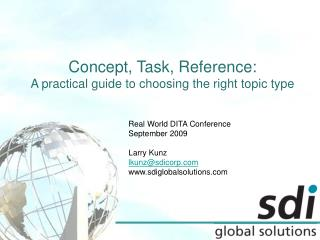 Concept, Task, Reference: A practical guide to choosing the right topic type