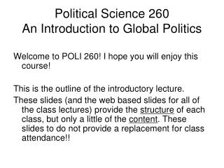Political Science 260 An Introduction to Global Politics