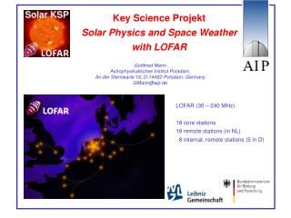 Key Science Projekt Solar Physics and Space Weather with LOFAR