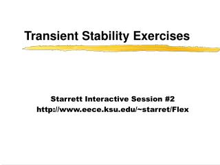Transient Stability Exercises