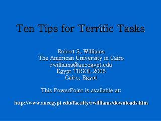 Ten Tips for Terrific Tasks