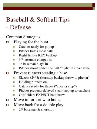Baseball & Softball Tips - Defense