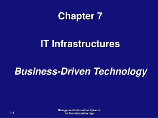 Chapter 7 IT Infrastructures Business-Driven Technology