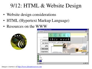 9/12: HTML & Website Design