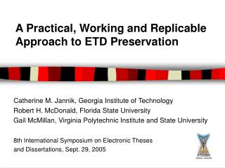 georgia tech thesis etd Georgia institute of technology policy states that doctoral and master's theses must be openly published and georgia tech is joint etd web site at http://thesis.