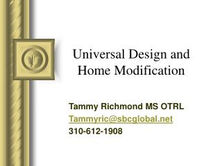 Universal Design and Home Modification