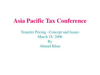 Asia Pacific Tax Conference