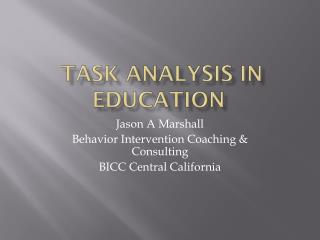 Task Analysis In education
