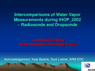Intercomparisons of Water Vapor Measurements during IHOP_2002  – Radiosonde and Dropsonde