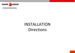 INSTALLATION Directions