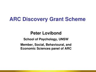 ARC Discovery Grant Scheme