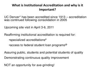 What is Institutional Accreditation and why is it Important?