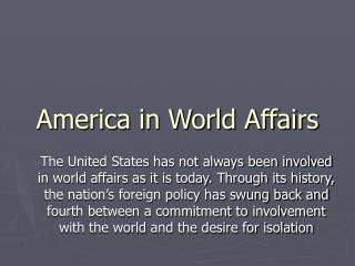 America in World Affairs
