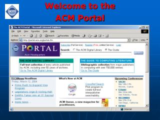 Welcome to the ACM Portal