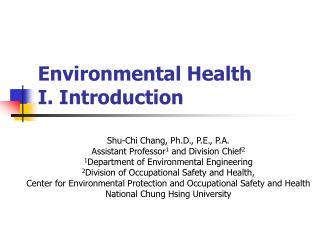 Environmental Health  I. Introduction