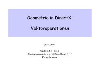 Geometrie in DirectX: Vektoroperationen